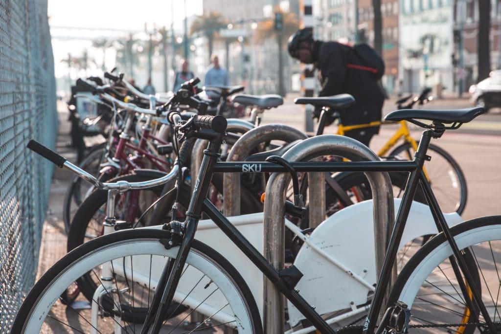 Bicycles on a bike rack.